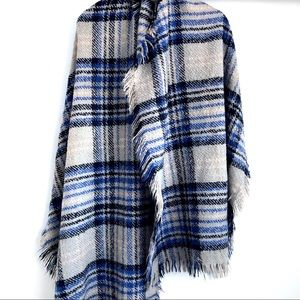 Accessories - Huge Plaid Blanket Scarf Grey Black Blue